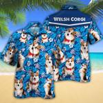 Welsh Corgi Dog Lovers Blue Floral Pattern Hawaiian Shirt