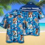 Wire Fox Terrier Dog Lovers Blue Floral Pattern Hawaiian Shirt