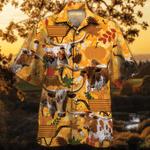 TX Longhorn Cattle Lovers Orange Nature Autumn Hawaiian Shirt