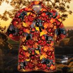 Black Angus Cattle Lovers Autumn Red Leaves Hawaiian Shirt