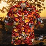 TX Longhorn Cattle Lovers Autumn Red Leaves Hawaiian Shirt