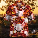 Pig Lovers Autumn Red Leaves Hawaiian Shirt