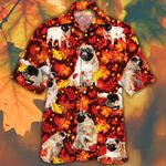 Pug Dog Lovers Autumn Red Leaves Hawaiian Shirt