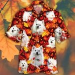 American Eskimo Dog Lovers Autumn Red Leaves Hawaiian Shirt