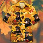 Rottweiler Dog Lovers Orange Nature Autumn Hawaiian Shirt