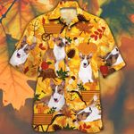 Miniature Bull Terrier Dog Lovers Orange Nature Autumn Hawaiian Shirt
