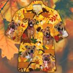 Staffordshire Bull Terrier Dog Lovers Orange Nature Autumn Hawaiian Shirt