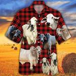 Brahman Cattle Lovers Red Tartan Pattern Hawaiian Shirt
