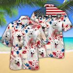 American Eskimo Dog Lovers American Flag Hawaiian Shirt