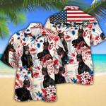Doberman Pinscher Dog Lovers American Flag Hawaiian Shirt