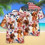 Dachshund Dog Lovers American Flag Hawaiian Shirt