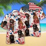 Leonberger Dog Lovers American Flag Hawaiian Shirt