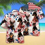 Miniature Pinscher Dog Lovers American Flag Hawaiian Shirt