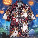 Miniature Bull Terrier Dog Lovers Sugar Skull Floral Hawaiian Shirt