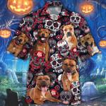 Staffordshire Bull Terrier Dog Lovers Sugar Skull Floral Hawaiian Shirt