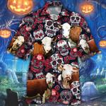 Hereford Cattle Lovers Sugar Skull Floral Hawaiian Shirt