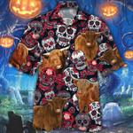 Highland Cattle Lovers Sugar Skull Floral Hawaiian Shirt