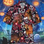 Red Brahman Cattle Lovers Sugar Skull Floral Hawaiian Shirt