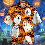 Great Pyrenees Dog Lovers Halloween Pumpkin Hawaiian Shirt