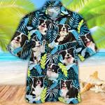 Border Collie Dog Lovers Jungle Leaves Hawaiian Shirt