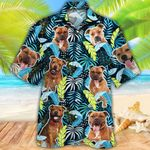 Staffordshire Bull Terrier Dog Lovers Jungle Leaves Hawaiian Shirt