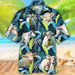 Charolais Cattle Lovers Jungle Leaves Hawaiian Shirt