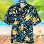 Miniature Bull Terrier Dog Lovers Blue And Yellow Plants Hawaiian Shirt