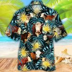 Hereford Cattle Lovers Blue And Yellow Plants Hawaiian Shirt