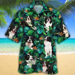 Border Collie Dog Lovers Tropical Leaves Hawaiian Shirt