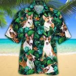 Miniature Bull Terrier Dog Lovers Tropical Leaves Hawaiian Shirt