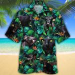 Black Angus Cattle Lovers Tropical Leaves Hawaiian Shirt