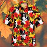 Border Collie Dog Lovers Hibiscus Flower Hawaiian Shirt