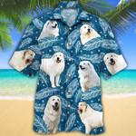 Great Pyrenees Dog Lovers Blue Feather Hawaiian Shirt