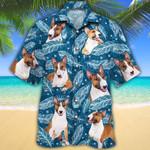 Miniature Bull Terrier Dog Lovers Blue Feather Hawaiian Shirt