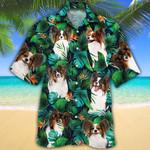 Papillon Dog Lovers Tropical Leaves Hawaiian Shirt
