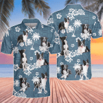 Border Collie Dog Lovers Blue Tribal Pattern Polo Shirt