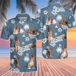 German Shepherd Dog Lovers Blue Tribal Pattern Polo Shirt