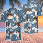 Papillon Dog Lovers Blue Tribal Pattern Polo Shirt
