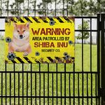 Shiba Inu Dog Lovers Warning Area Metal Sign