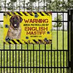 English Mastiff Dog Lovers Warning Area Metal Sign