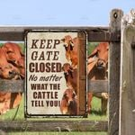Red Brahman Cattle Lovers Keep Gate Closed Metal Sign