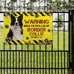 Border Collie Dog Lovers Warning Area Metal Sign