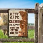 Highland Cattle Lovers Keep Gate Closed Metal Sign