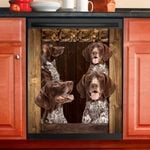 German Shorthaired Pointer Dog Lovers Wooden Art Dishwasher Cover
