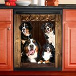 Bernese Mountain Dog Lovers Wooden Art Dishwasher Cover