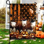 Hereford Cattle Lovers Happy Halloween Garden And House Flag