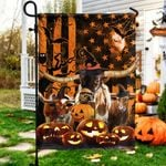 TX Longhorn Cattle Lovers Happy Halloween Garden And House Flag