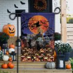 Black Angus Cattle Lovers Happy Halloween Garden And House Flag