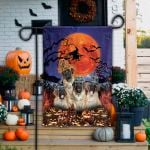 English Mastiff Dog Lovers Halloween Night Garden And House Flag