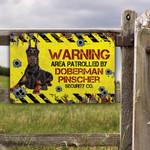 Doberman Pinscher Dog Lovers Warning Area Metal Sign